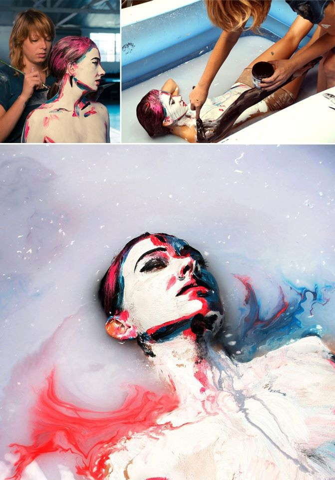 Incredible live model 2D portraits by American artist Alexa Meade. This time, she used a milk canvas!