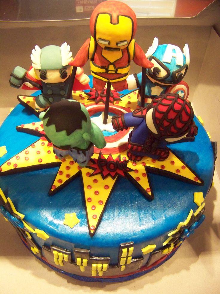 Little marvel superheroes birthday cake nicky 39 s 3rd for Anniversary cake decoration