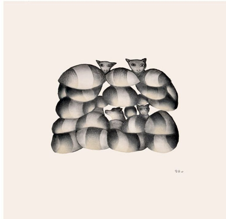 """Item # P14CD04 Price: C$400 Title: Cats and Dogs Dated: 2014 - Signed Artist: Link   Sagiatuk, Kakulu    Edition: 50  Community:  Link   Cape Dorset     Ref: Print #4 of the 2014 Cape Dorset Collection  Size: inches/cm 15.5"""" x 16"""" 39.4 cm x 40.6 cm Style: Etching / Aquatint Paper: Arches white http://www.inuitarteskimoart.com/images/P14CD04L.jpg"""