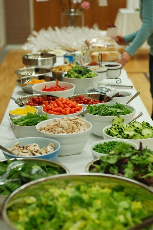 Relief society salad bar church callings pinterest for Food bar on church