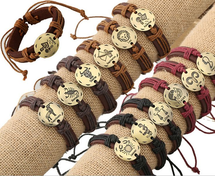 JINGLANG Mix Sale Fashion Leather Bracelets Infinity Mix Constellation Pattern Cuff Bracelets For Men Jewelry