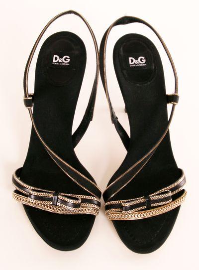 D&G Satin Heels with Gold Chain Trim @Pascale De Groof