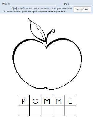 """Reconstituer le mot """"pomme"""""""