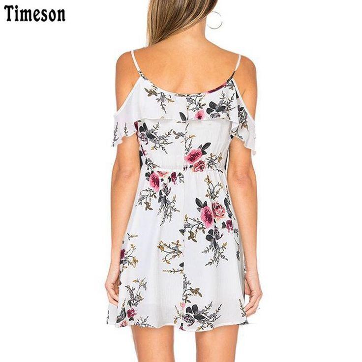 Timeson Summer Floral Print Dress Ruffle Off Shoulder Spaghetti Strap Tunic Casual Beach Dresses