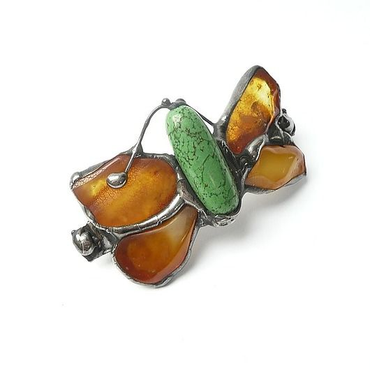 Hair clip (barrette). Butterfly of amber :) nice and classy GIFT.  // PREZENT. Spinka do włosów. Motyl z bursztynu