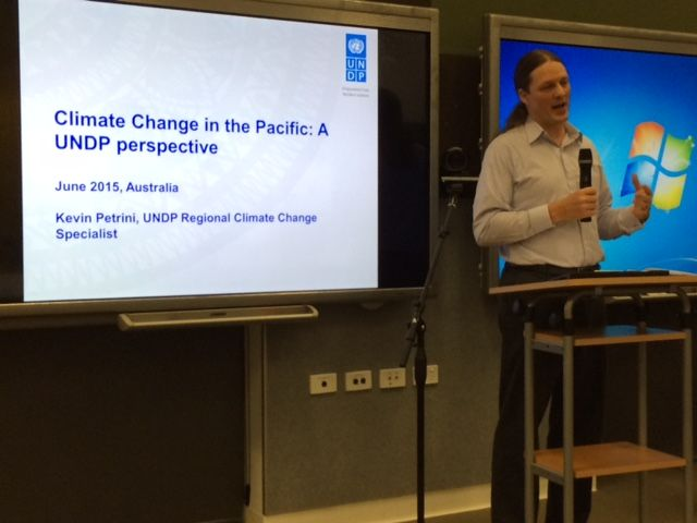 "UNDP Climate Expert from the Pacific office; ""the nations of the Pacific are called Pacific Small Island Developing States or ""PSIDS."" However, some countries are increasingly positioning themselves as ""large ocean states"" as they are Custodians of major ocean areas often containing sizeable biodiversity of both commercial and globally environmental significance"". Speaking in Darwin as part of our national #UN70 tour. #climate #pacifc"