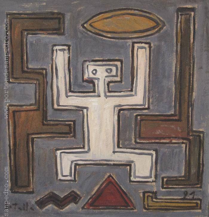 """Daniel Batalla """"Figura indo-americana"""" Oleo sobre cartón 53 X 51 cms. http://www.portondesanpedro.com/ver-producto.php?id=10540"""