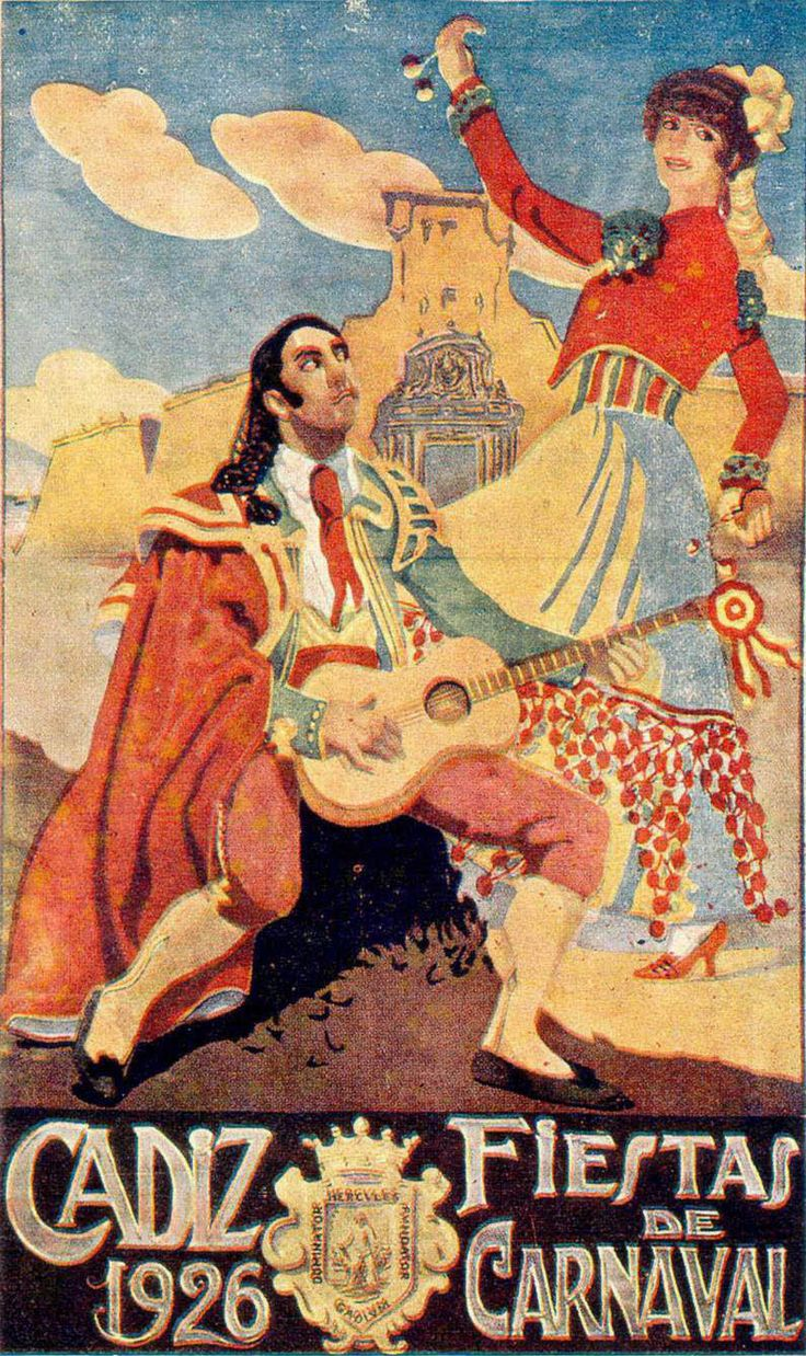 Poster from the 1926 Carnaval in Cádiz. MOVING TO SPAIN? www.matrixrelocations.com