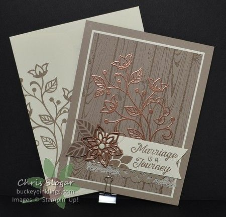 Everything about this bundle is beautiful – the images, the thinlit shapes, the greetings – they are awesome! This card doesn't even scratch the surface! I started with a Tip Top Taupe wood grain back