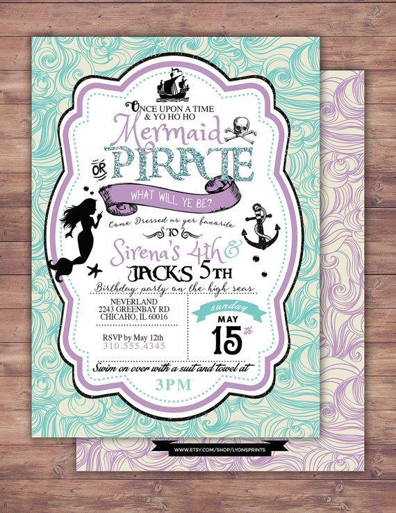mermaid invitation pirate and princess birthday invitation princess and pirate invitation twins birthday nautical under the sea