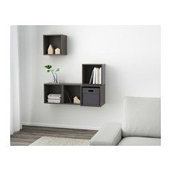EKET Wall-mounted cabinet combination - dark gray - IKEA