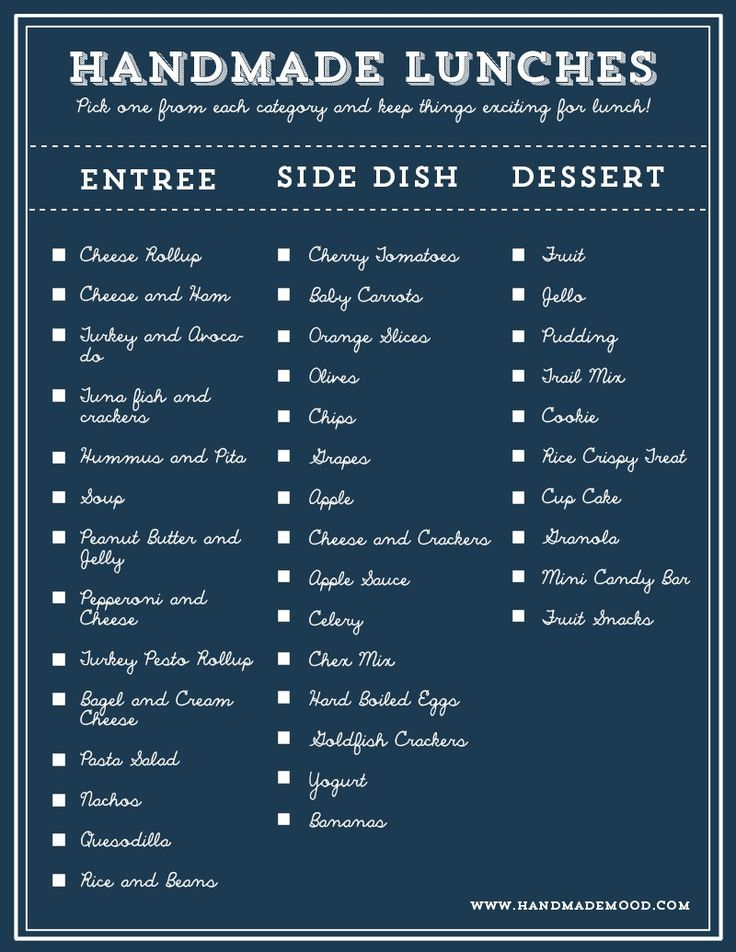 Lunch Combo List for Fast Lunch Packing (2,250 Combinations!)