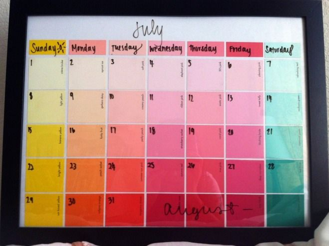 How to Make Your Own Dry Erase Calendar with Paint Chips (SUPER Easy and Frugal)! - Raining Hot Coupons