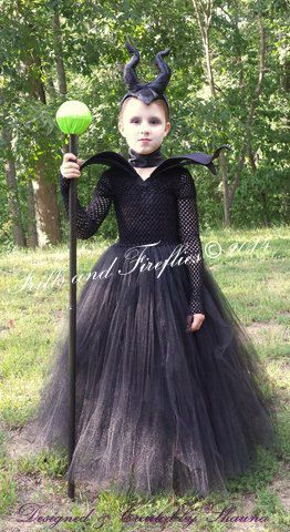 Maleficent Tutu Costume, 4 Piece Set w/Dress, Collar, Horns Headpiece, Neck Wrap in Baby to Sz 10, Birthdays, Photo Shoots, Halloween