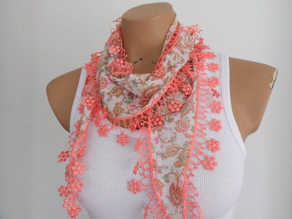 Salmon Pink Scarf Paisley Pattern Women Scarf by fizzaccessory, $14.00
