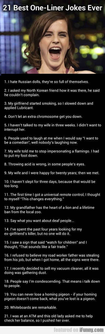 21 Best One Liner Jokes..