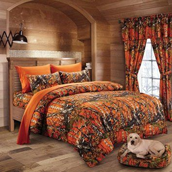 20 Lakes Woodland Hunter Camo Comforter Set (Queen, Orange)    Here are some unique bedding sets that are truly one of a kind., I love that this bedding comes in queen, king and cali-king.  Moreover, these bedding sets are unique and abstract because they are trending like crazy.  These unique bedding sets will give you great inspiration and bedroom decorating ideas whether it be a kid's bedroom, a guest room or most importantly your master bedroom.