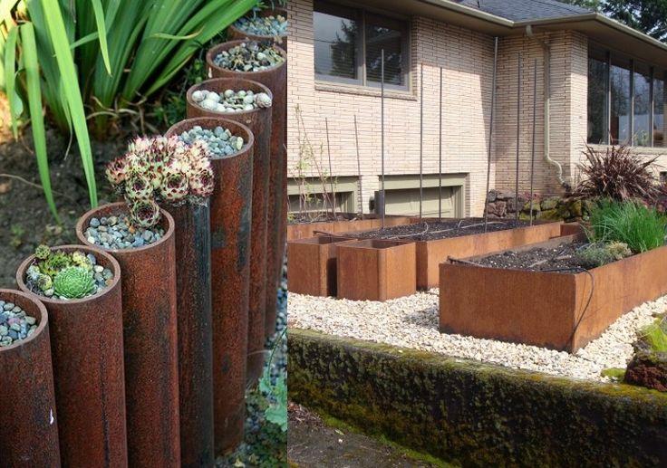 Pflanzgefäße aus Metallrohren oder Kisten mit gerosteter Oberfläche