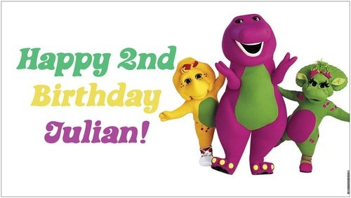 Custom Vinyl Barney and & Friends Birthday Party Banner Decorations Child's Name - A beautiful showpiece for your child's birthday and a wonderful keepsake. Dimensions: 3' x 1.6' Printed on high quality, white 10oz. vinyl, which is flexible material with a matte finish and is fade-resistant, tear-resistant, and flame-retardant. Banners are professionally printed and are shipped rolled. Your banner will never be folded, so it will have no creases. $29.95