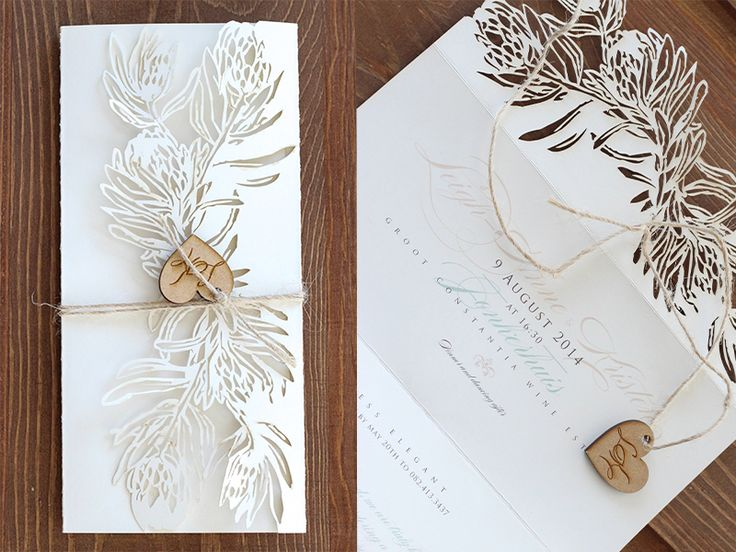 Wedding Invitations | Wedding Stationery | South Africa | Secret Diary | Leigh-Anne & Kristen DL 3 fold invitation with a laser cut edge which is closed and finished off with twine and wooden lasercut heart which is engraved.