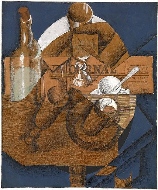 "Juan Gris (Spanish, 1887–1927). Cup, Glasses, and Bottle (Le Journal), 1914. The Metropolitan Museum of Art, New York. Promised Gift from the Leonard A. Lauder Cubist Collection. | This work is on view in ""Cubism: The Leonard A. Lauder Collection"" through February 16, 2015. #Cubism"