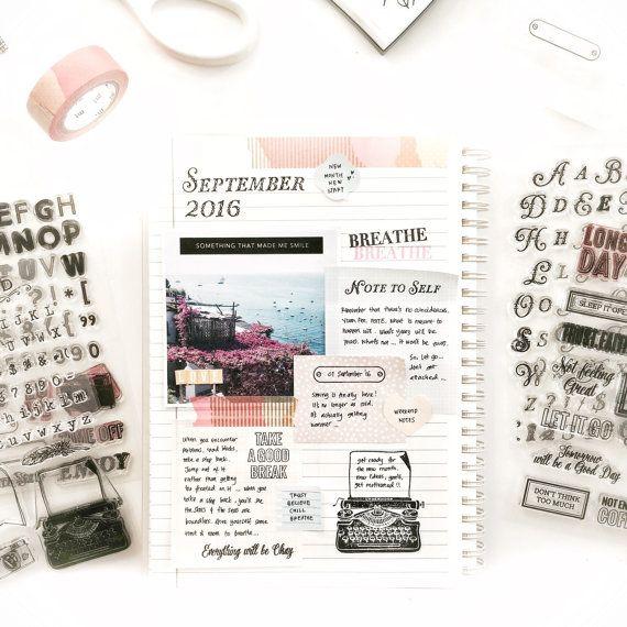 Duidelijke stempel briefkaart instellen voor journaling, planners, traveler