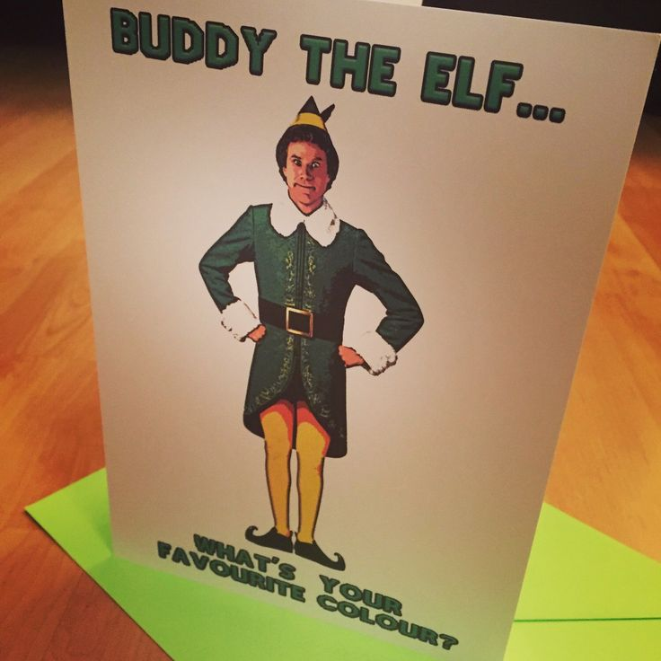 "Get prepped for #Christmas with this #funny #buddytheelf #card! Caption reads ""Buddy the elf, what's your favourite colour?"". 🎅🏻🎄😂 ••• #elf #film #movie #buddy #homemade #crafty #lol #xmas #design #willferrell"
