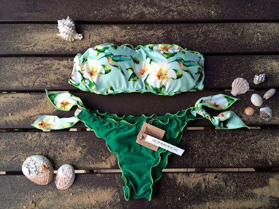 what a beautiful swimsuit, bikini set, lush sea green and aqua with frangipani flower and hummingbird. I'm so proud that this is a WA store! FRANGIPANI Bikini set Bandeau Top Woman by SoniaVincisSwimwear