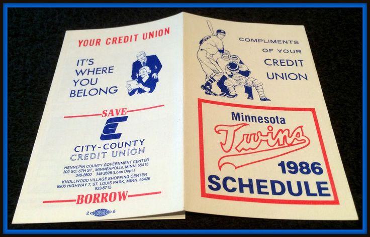 1986 MINNESOTA TWINS CITY COUNTY CREDIT UNION BASEBALL POCKET SCHEDULE FREE SHIP #Pocket #PocketSchedules