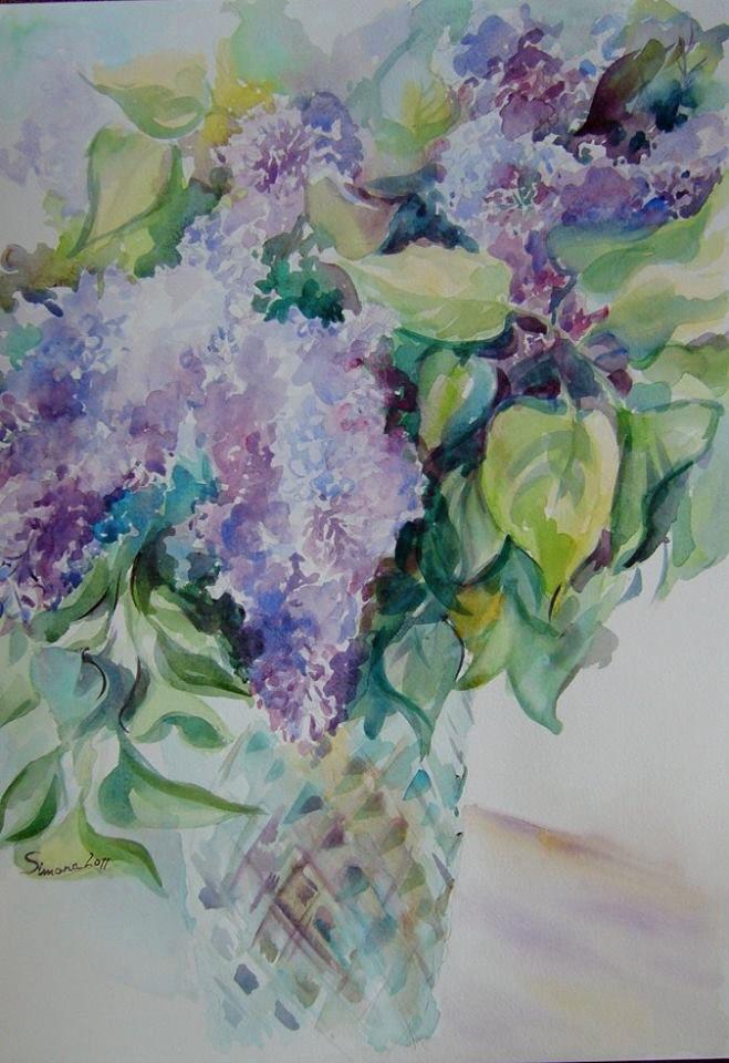 Lilac flowers- watercolor on paper, 42/29 cm, 2011, Derecichei Simona Mihaela