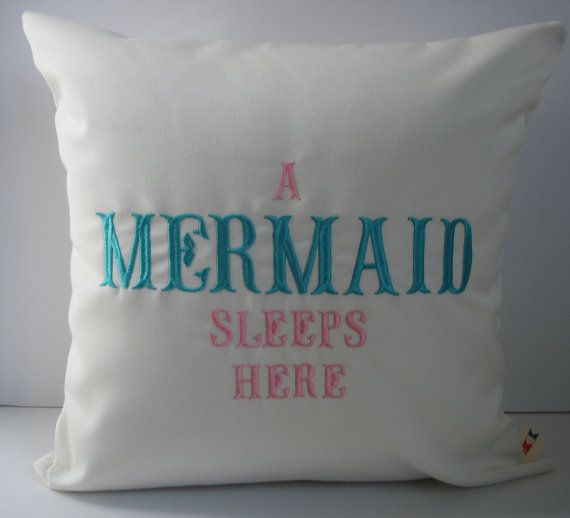 Sunbrella Pillow 18 x 18, Beach Decor, Decorative Pillow, Indoor/Outdoor Pillow, A Mermaid Sleeps Here Custom Embroidered Pillow Cover