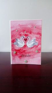 Swans in love- Valentine's Day card.