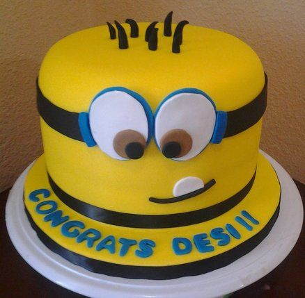 Working on a cake for a kids birthday, despicable me theme!
