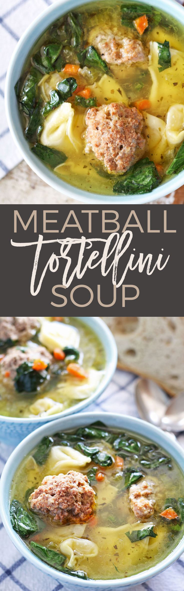 This easy meatball tortellini soup is hearty and perfect for lunch or dinner! Made with store-bought tortellini and giant meatballs! | honeyandbirch.com | meatball | homemade meatballs | tortellini | winter | recipe | recipes | Italian | easy | healthy | beef | pork | spinach | best | favorite | soup