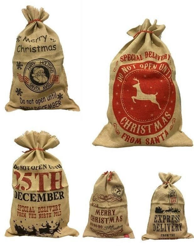 Christmas XMAS Large Jumbo Hessian Santa Sack Kids Gifts Stocking Bag 5 Designs #TheRainbowlineShop