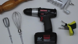 Use a Cordless Power Drill in the Kitchen to Super Charge Pot Scrubbing, Whisking, and More    Quirky, to say the least, but I can also see a practicality to it.