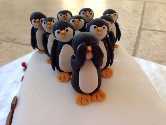 Penguin bowling cake