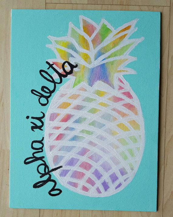 Custom Sorority Pineapple Canvas by stuffByNisha on Etsy