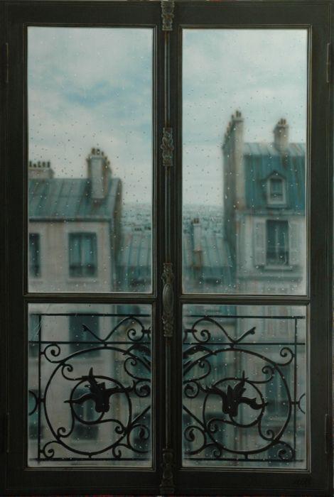 Paris, 雨の日の窓