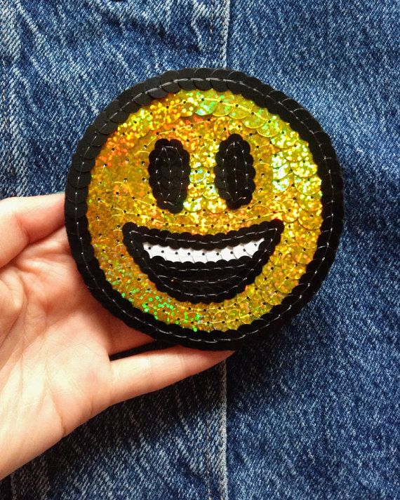 Smiley face emoji hand embroidered patch for by KingSophiesWorld