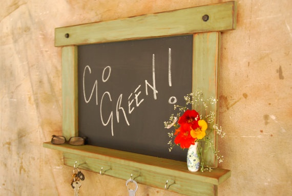 Chalkboard-Rustic/Primitive Chalk Board in New Leaf Green with Shelf and Hooks- MADE TO ORDER. $64.95, via Etsy.