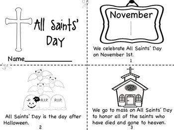 All Saints Day Mini Book Coloring Page Prayer Pages All Saints Day All Saints Day Prayer Mini Books
