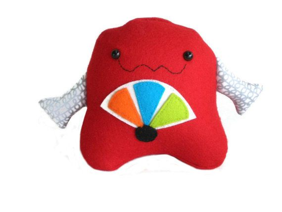 Red Colorful Robot Plushie Softie Felt Toy by MissTreeCreations, $29.00