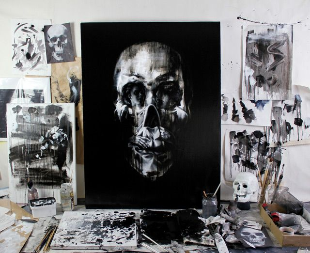 Optical illusion skulls.: Skulls, Art Illustrations, Artists Studios, Illusions Skull, Optical Illusions, Toms French, Skull Fashion, Skull Portraits, Skull Art