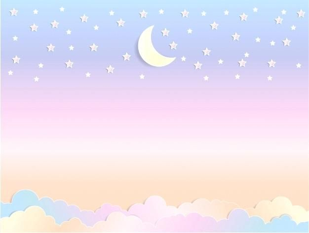 Solid Pastel Colors Tumblr Cute Cartoon Moon Sky With Fluffy Clouds In Pastel Colors With Colorful Clouds Background Home App Colorful Clouds Clouds Background