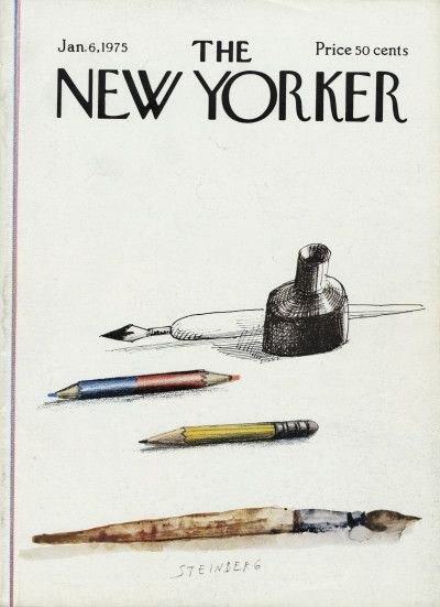 Saul Steinberg : Cover art for The New Yorker 2603 - 6 January 1975