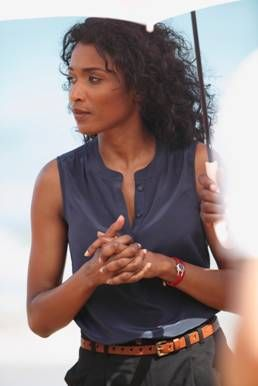Camille Bordey - Death in Paradise: I love her wardrobe in this series! Perfect summer clothing for super hot climates :)