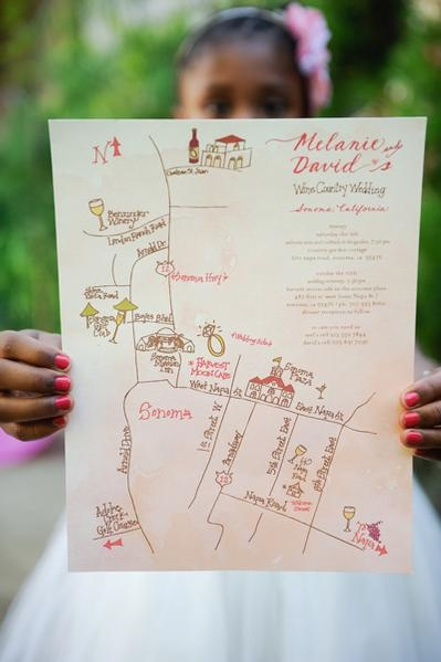 hand drawn map for the welcome bag and possibly in the invitations