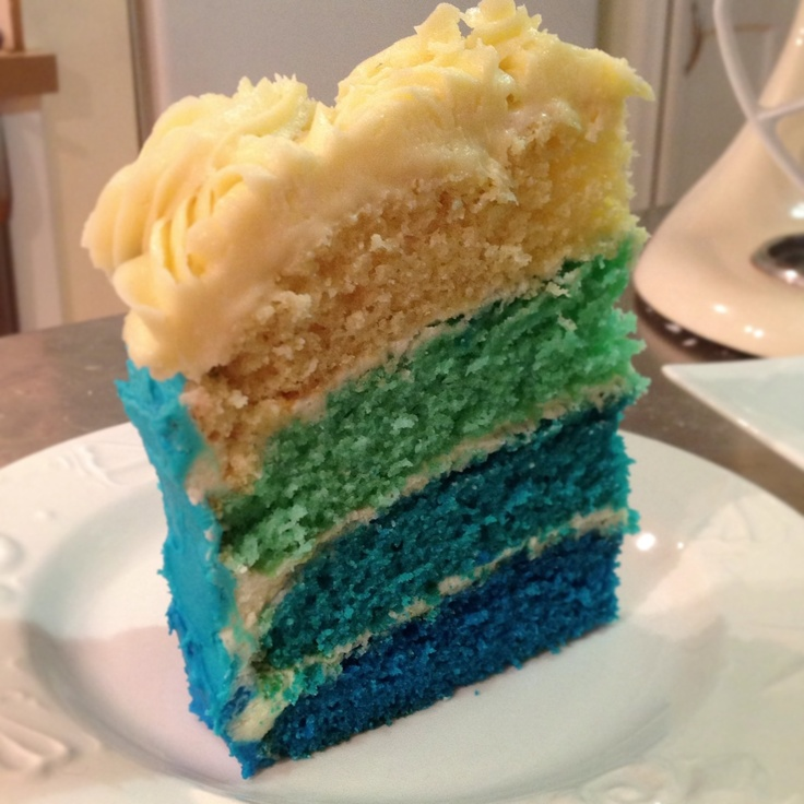 Blue ombré cake made by Charlotte
