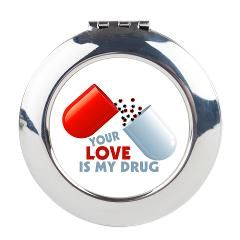Your Love Is My Drug Hearts In Pill Round Compact> Your Love Is My Drug Hearts In Pill> Welcome To Presents From Santa